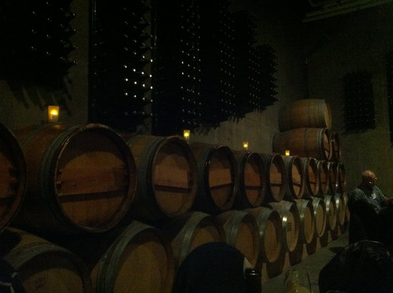 Church and State Wines : Wine barrels lining the walls