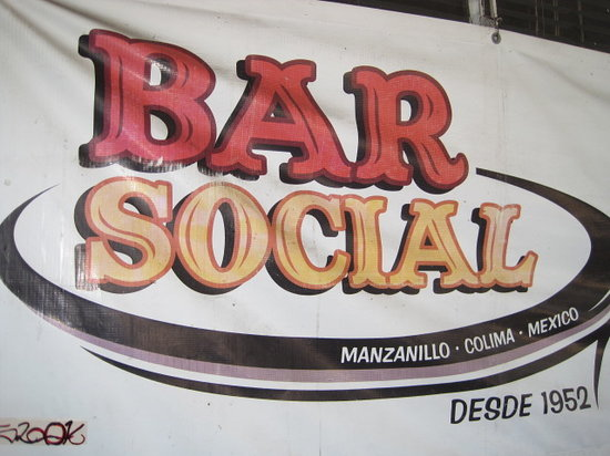 Club Social : Sign in front of bar