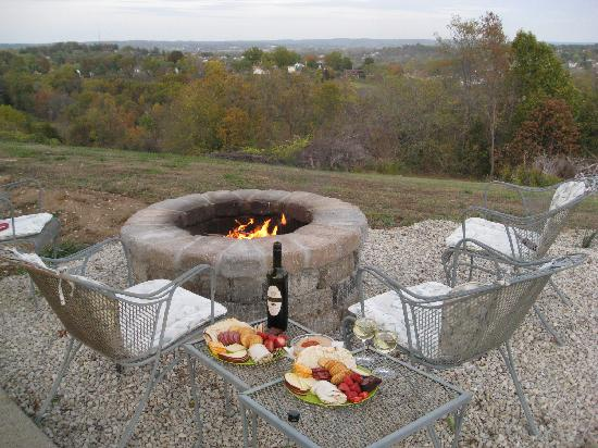 Edelweiss Bed and Breakfast: Fire Pit overlooking the city (they plan to do something different with the ground soon)