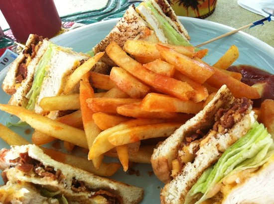 Coral Reef Beach Bar: Chicken Club and Fries