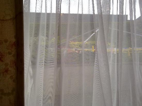 Cwmwythig Farmhouse Bed & Breakfast: view through stained curtains