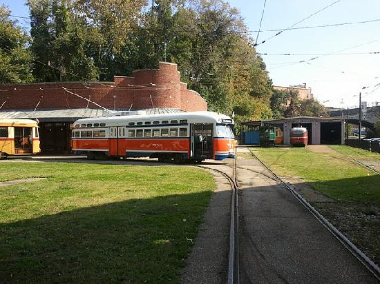 Baltimore Streetcar Museum: SEPTA #2168 - Street Car Barn in Back Right
