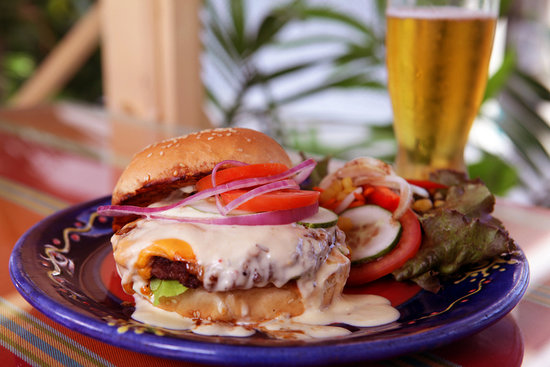 Cafe Sol Mexican Grill and Margarita Bar : Cafe Sol's almost-world-famous Cheeseburger In Paradise!