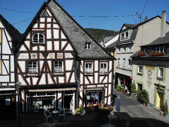 Boppard Hotel Ohm Patt: View from our room - date on building across is 1586.
