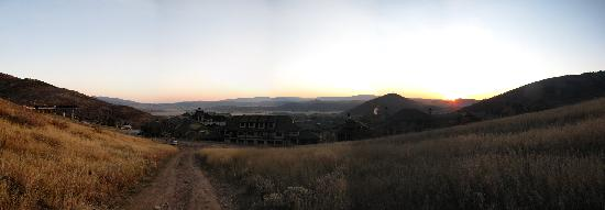 Sundial Lodge at Canyons Village: Looking over the Canyons complex at sunrise