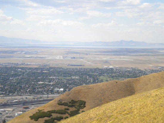 Salt Lake City, UT: SLC Airport and The Great Salt Lake from Ensign Peak