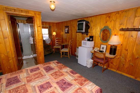 The Canyon Motel: A queen bedroom with sitting area