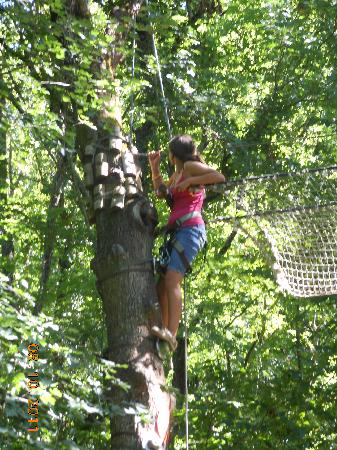 Parc En Ciel : It's not easy to climb a tree when you are older!