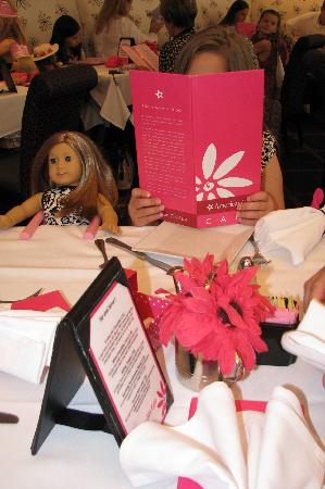 American Girl Place - New York: A look at the table, menu and doll seat.