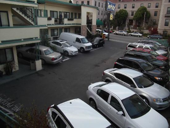 San Francisco at The Presidio Travelodge: Full Car park - managed to get in the last space (top left in photo)