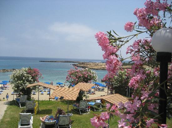 Cavo Maris Beach Hotel : il mare visto dal prato