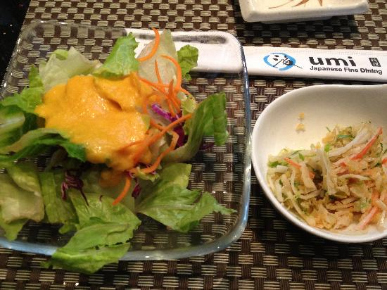 umi: Ginger Salad & Spicy Crab Salad