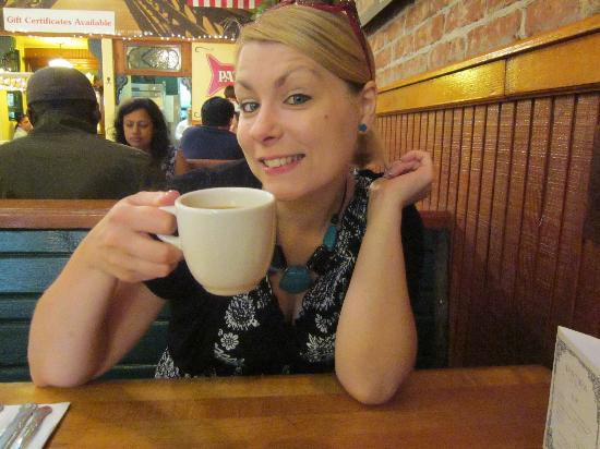 Omelette Parlor: enjoying coffee!