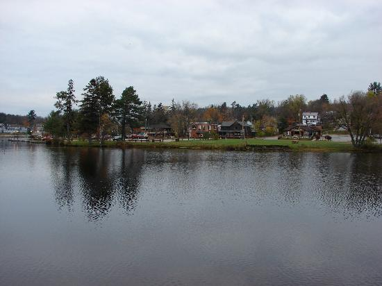 Adirondack Motel: View across the lake from the Motel
