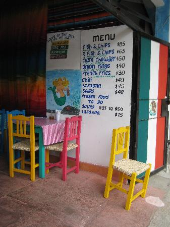 Flaky's Fish and Chips : Flaky's menu board
