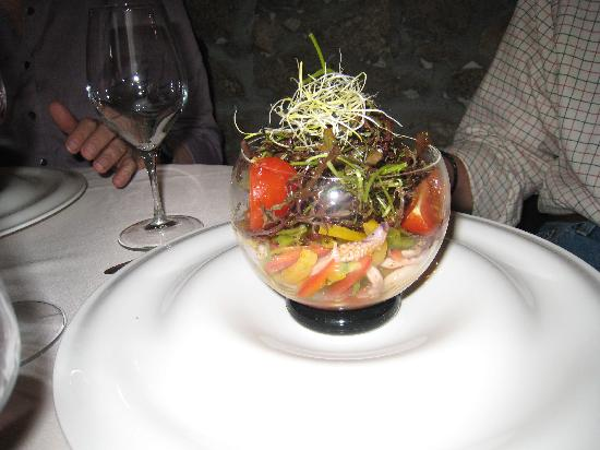 Beautifully served appetizer at Le Tournesol