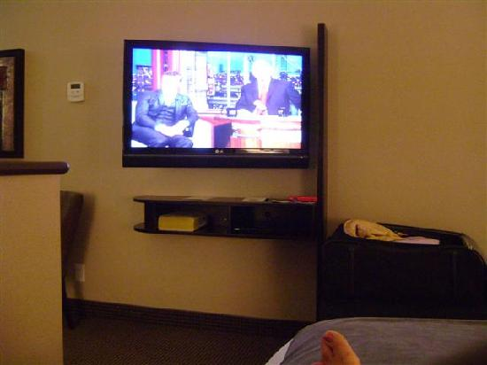 Acclaim Hotel Calgary Airport: TV from Bed (camera pic is not clear)
