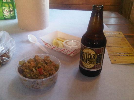 crawfish king: abita beer and jambalaya rice