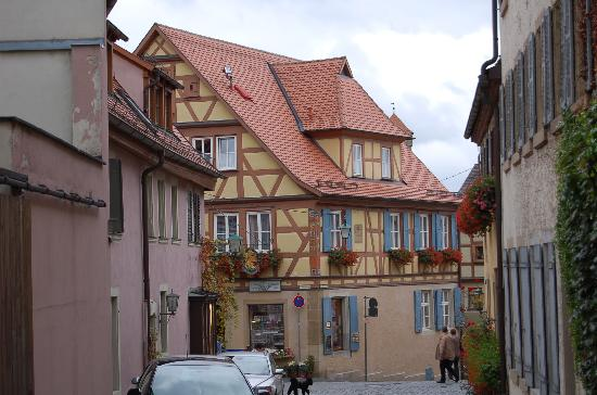 Pension Elke: A view of the B&B coming down the street, note the third floor is for guests.