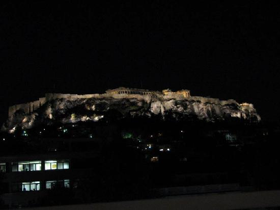 Acropolis View Restaurant: View from our table after dark