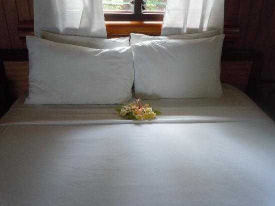 Tavarua Island Resort: The flowers we found on our bed daily