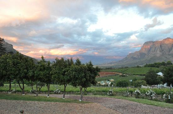 Clouds Wine & Guest Estate: sunset from the veranda