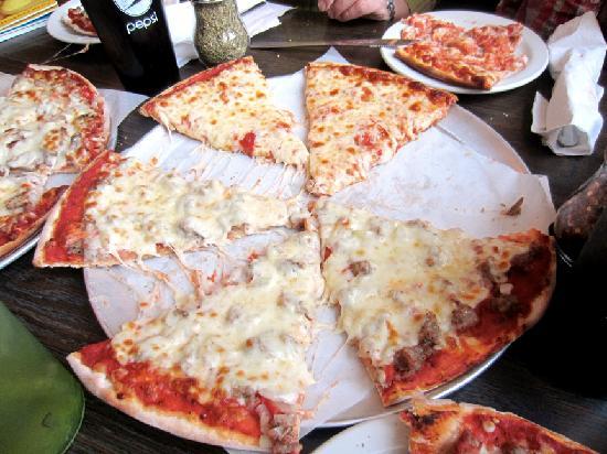 A & A Pagliai's Pizza: Half sausage, onion, extra cheese, and half just extra cheese pizza at Pagliai's