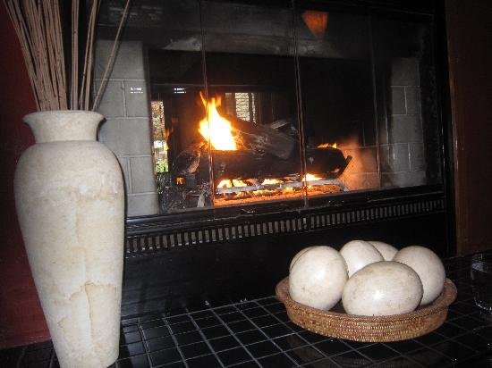 The Black Trumpet: Fireplace in the middle of the restaurant.