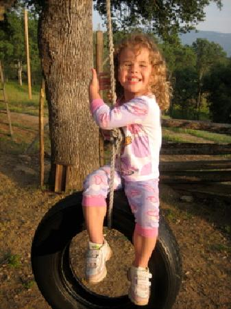Lyn-Mar Pond Guest Ranch: kids had fun swinging on the tire swing!