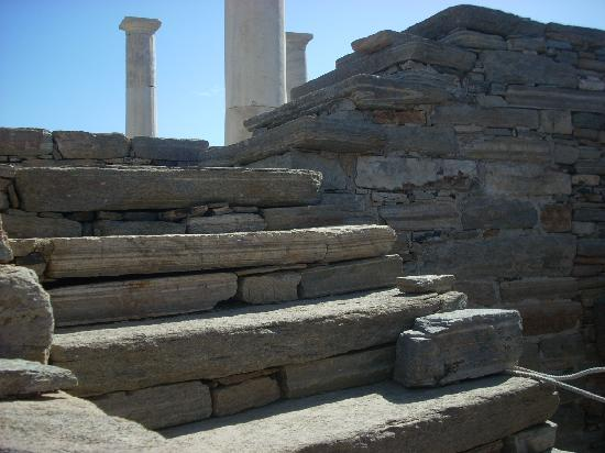 House of Dionysus : The stone structure of the stairway in this house supported wooden stairs.