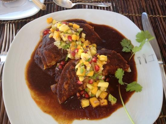 Casablanca: Shrimp enchiladas in mole