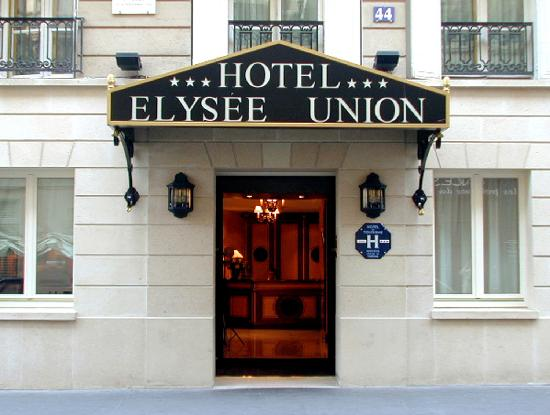 Front view picture of hotel elysees union paris for Paris hotel address