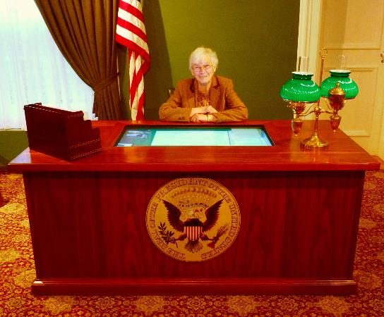 Theodore Roosevelt Inaugural National Historic Site: Visitors can take a photo of themselves at the reconstruction of President Roosevelt's desk