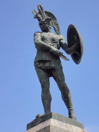 Teatro Sannitico: this is the statue of the Samnite warrior in the main square of Pietrabbondante