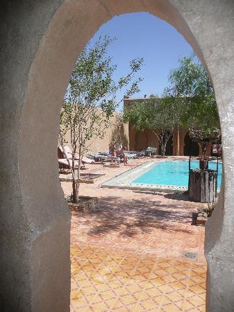 Auberge Camping Sahara: Zwembad in binnenplaats met heerlijke stoelen