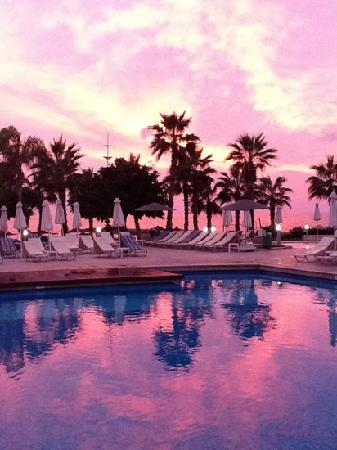 Louis Ledra Beach: view from the pool bar at sunset