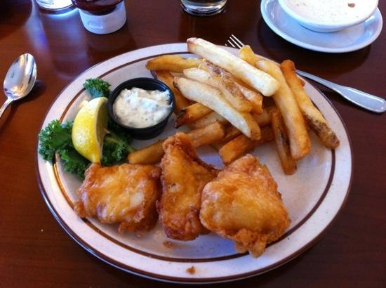 Vivian's Restaurant & BBQ: Cod and Chips (and no charge for extra dipping sauces). YUMMY