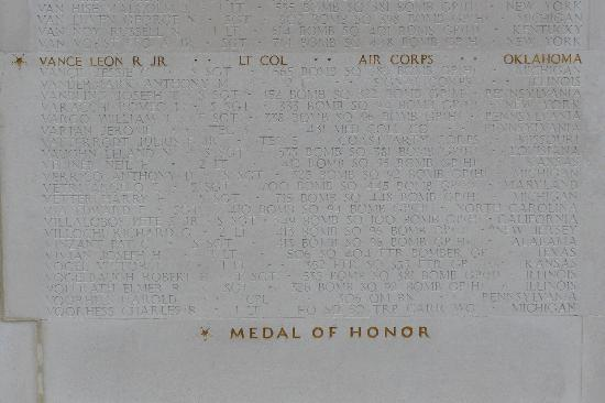 Cambridge American Cemetery and Memorial: Wall of the Missing detail