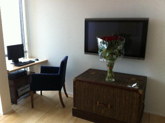 Hotel Palafitte: Le coin TV et ordi