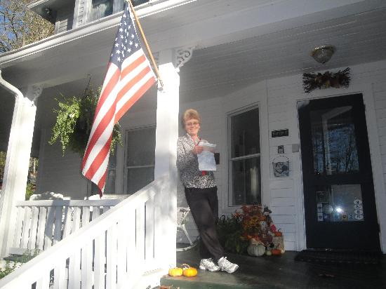 Taylor House Inn: On the front porch, decorated for fall, planning adventures
