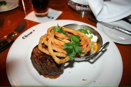 Chops City Grill : 8oz fillet with loaded mash potatoes!