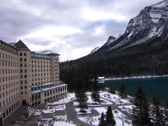 Fairmont Chateau Lake Louise: view from the balcony, looking east