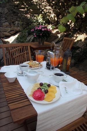 Hotel Quinta de San Amaro: DESAYUNOS EN LA TERRAZA O BAJO LA PARRA
