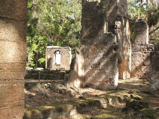 Sugar Mill Ruins : Photograph of the plantation ruins showing tall coquina rock chimneys.Photograph by PMAcontact