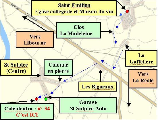 Cabadentra Saint Emilion : Carte locale