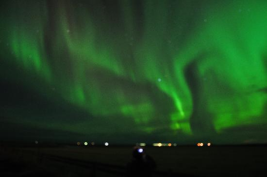 Hella, Island: Northern Lights from the hotel