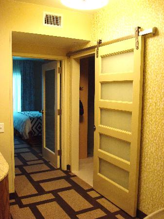 Embassy Suites by Hilton Houston Downtown: Cool sliding door into bathroom.