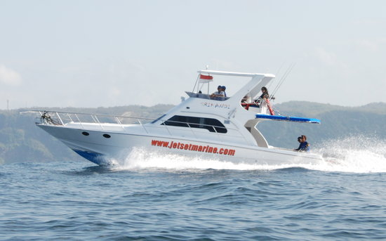 Bali Jet Set Dive and Marine Sports : Srikandi, our premium boat, on a dolphin tour.