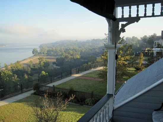 Bluff Top Bed and Breakfast: View of the Mississippi from the second floor porch.