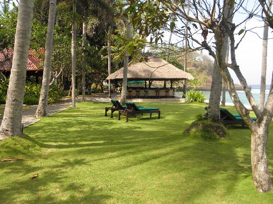 Alang-Alang Boutique Beach Hotel: looking across to the bar and pool